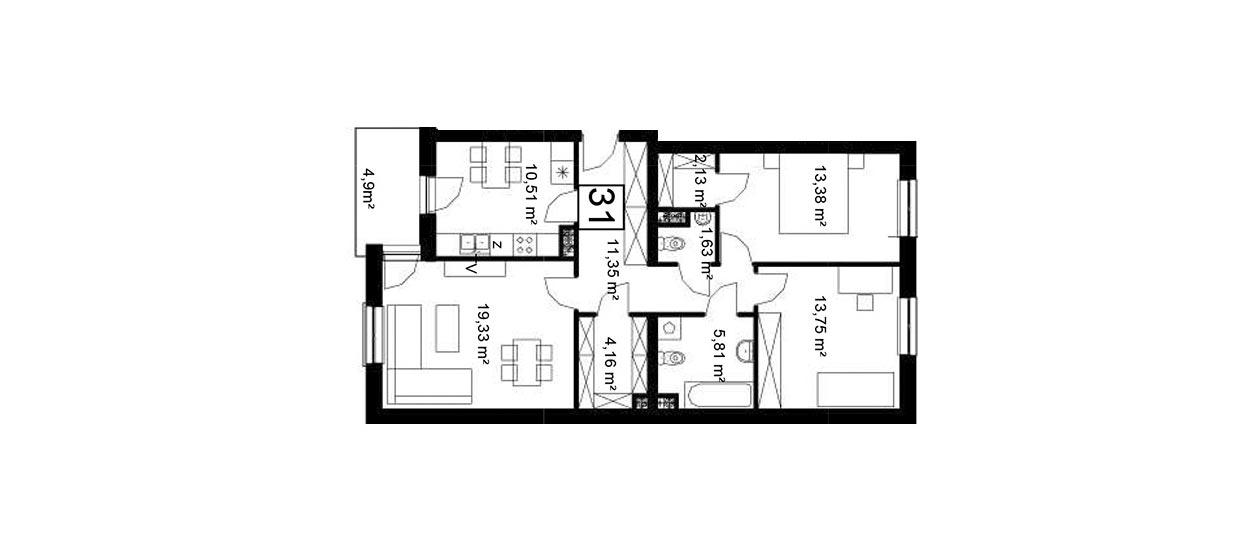 Koszary'65/31 - mieszkanie 3-pokojowe Zamość - Rozmus Nieruchomości - biuro nieruchomości Zamość