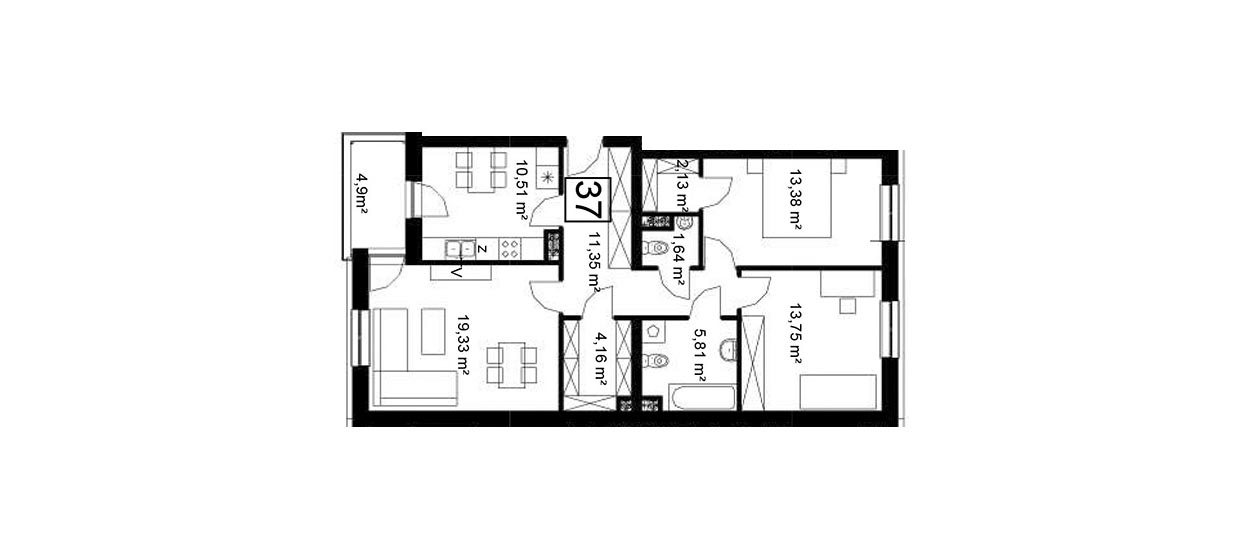 Koszary'64/37 - mieszkanie 3-pokojowe Zamość - Rozmus Nieruchomości - biuro nieruchomości Zamość